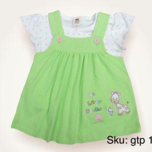Green Suspender baby frock