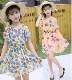 Girls Summer Dress In Chiffon Off Shoulder Pattern