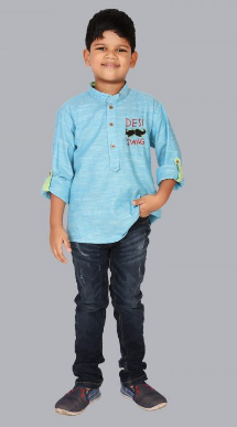 Khadi Cotton Designer Kurta Shirt (With Moustach Embroidery) Sky Blue