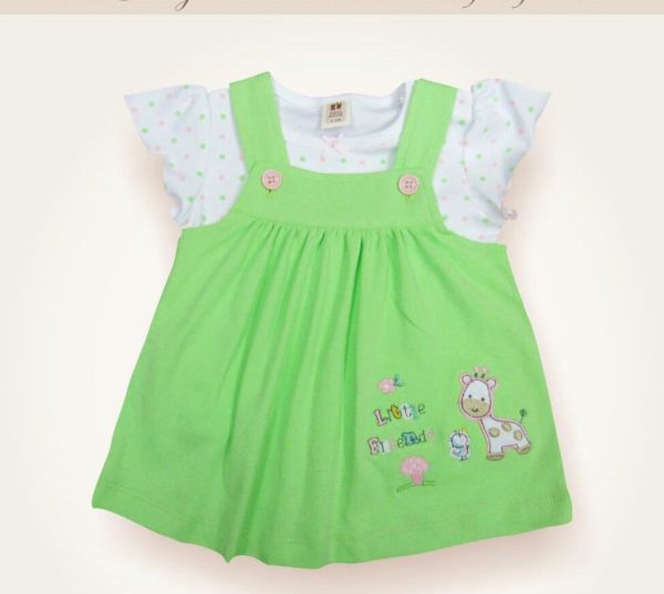 Green Suspender new born baby girl frock